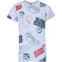 Camiseta Kings Print Sneakers - Infantil - Branco
