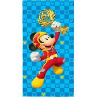 Toalha Infantil Mickey Aventura Sobre Rodas Algodão Azul