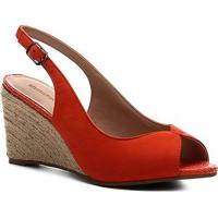 Peep Toe Shoestock Slingback Anabela Nobuck - Feminino-Laranja