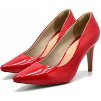 Sapato Scarpin Salto Alto Fino Em Napa Verniz Vermelho