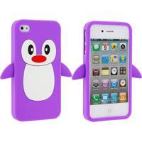 Capa Case Para Iphone 4/4S Silicone Pinguim Roxo