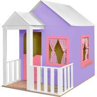 Casinha De Brinquedo Com Cercado Lilás/Rosa - Criança Feliz