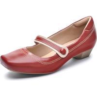 Sapato Couro Neftali Confort Boneca Vermelho