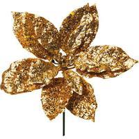 Flor Decorativa Com Glitter- Dourada- 25X20X20Cmcromus