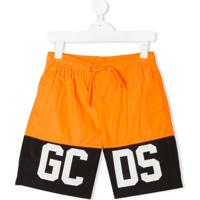 Gcds Kids Short De Natação Color Block Com Logo - Laranja