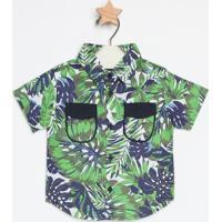 Camisa Folhagens- Verde & Azulgreen