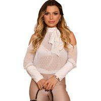 Blusa Feminina Transparente Com Laço Branca Branco