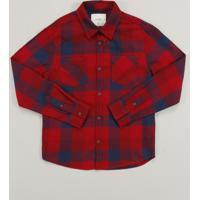 Camisa Infantil Em Flanela Estampada Xadrez Com Bolso Manga Longa Vermelha