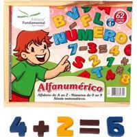 Alfanumérico Em Madeira Colorida 62 Peças - Fundamental - Kanui