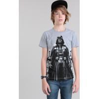 Camiseta Juvenil Darth Vader Manga Curta Gola Careca Cinza Mescla