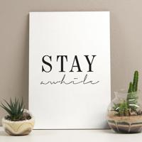 Placa Decorativa - Stay Awhile