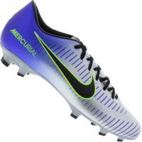 48aa6fa25910f Chuteira De Campo Nike Mercurial Victory Vi Neymar Fg - Adulto - Prata Azul