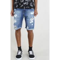Bermuda Jeans Masculina Destroyed Azul Escuro