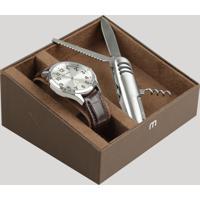 Kit De Relógio Analógico Mondaine Masculino + Canivete - 76659G0Mvnh1Kd Prateado - Único