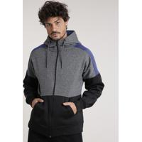 Blusão Masculino Esportivo Ace Em Moletom Com Recorte E Capuz Cinza Mescla Escuro