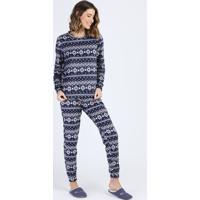 Pijama De Fleece Feminino Estampado Étnico Manga Longa Azul Marinho