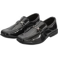 Sapato Social Infantil Leoppé Elástico Detalhe Superior Conforto - Masculino-Preto