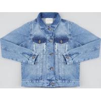 Jaqueta Jeans Infantil Com Puídos Azul Médio