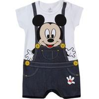 Macacão Infantil Para Bebê Menino Disney - Branco/Cinza