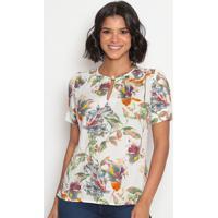 Blusa Floral Com Recortes & Fendas- Branca & Laranjavip Reserva