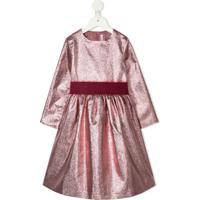 Il Gufo Vestido Metalizado Com Laço Na Gola - Rosa