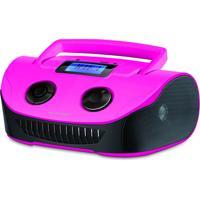 Caixa De Som Boombox 15W Rms Usb/P2/Fm/Cartao De Memória - Rosa/Preta - Sp184