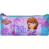Estojo Escolar Simples Disney Princesinha Sofia | Cor: Rosa