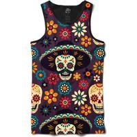 Camiseta Bsc Regata Mexican Hat Skull Full Print - Masculino-Preto