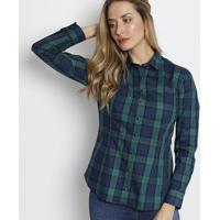 Camisa Xadrez Com Bordado - Verde & Azul Marinho - Ddudalina