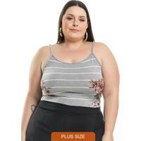 Body Listrado Summer Cinza Miss Masy Plus