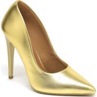 Scarpin Metalizado Salto Alto Bico Fino Ellas Feminino - Feminino-Dourado