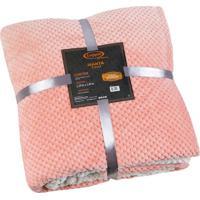 Manta Fleece Texturizado Solteiro- Rosa- 160X240Cm