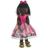 Boneca De Pano Negra Nina Com Roupa Tema Barbie