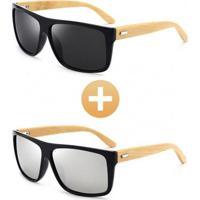 Combo Com 2 Óculos Polarizado Com Hastes Em Bambu Preto Prata