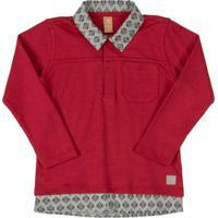 Camisa Polo Com Bolso Vermelho