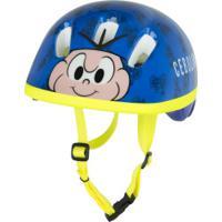 Kit Proteção Turma Da Mônica Cebolinha Com 1 Par: Joelheiras + Cotoveleiras + 1 Capacete - Infantil - Azul
