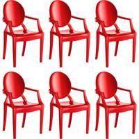 Conjunto Com 6 Cadeiras De Plástico Wind Vermelho