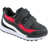 Tênis Esportivo Com Velcro - Preto Vermelho- Luluzluluzinha