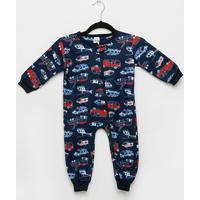 Macacão Bebê Candy Kids Pijama Soft Zíper - Masculino-Azul Escuro