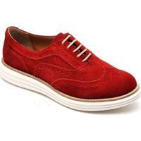 Sapato Oxford Camurça Q&A Feminino - Feminino-Vermelho