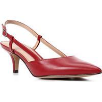 Scarpin Couro Shoestock Salto Baixo Bico Fino Slingback - Feminino-Vermelho