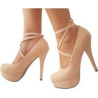 Sapato Feminino Fechado Meia Pata Plataforma Trançado Salto Alto Salto Fino