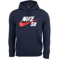 Blusão De Moletom Com Capuz Nike Sb Icon Hoodie Po Essential - Masculino - Azul Esc/Vermelho