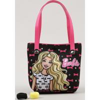 Bolsa Infantil Barbie Estampada + Elásticos De Cabelo Preta - Único