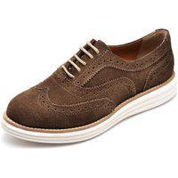 Sapato Oxford Casual Conforto Camurça Marrom