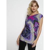 Blusa Com Decote Degag㪠- Roxa & Azul Marinhosimple Life