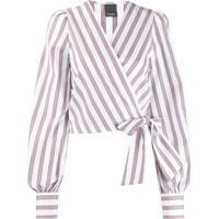Pinko Blusa Com Transpasse E Listras - Branco