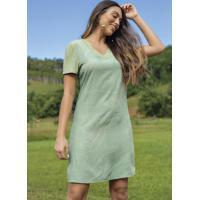 Vestido Estampado Curto Com Decote V Verde