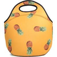Lancheira Térmica Tritengo Em Neoprene Orange Pineapple - Unissex