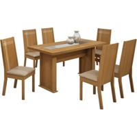 Conjunto De Mesa Master 1,60 X 0,80 Com 6 Cadeiras Havana Nogueira Tecido Suede Amassado Capuccino Cel